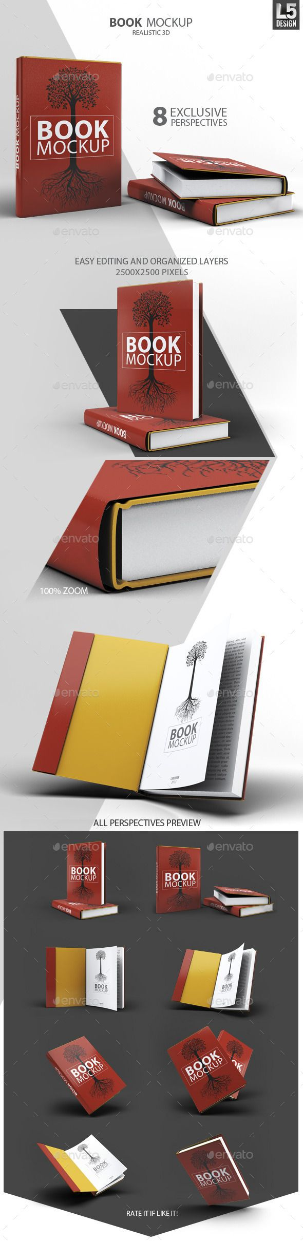 Book mock-up / Dust Jacket Set includes 8 PSD Files / 8 realistic perspectives / Fully Layered 2500×2500 resolution (8.3×8.3 inches 300dpi HiQ print) Usage is very simple. Open the psd file, you will find a group of layers (duly named). Layers for editing are located on top, named properly and marking red color.
