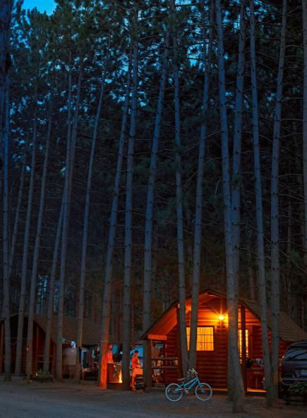 Camping in a cabin surrounded by the trees, great friends, and of course food for the grill! ~ BK