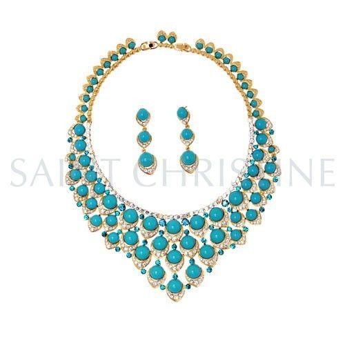 Fashion Luxury Green Beads with Rhinestones Necklace & Jewelry Set at Saintchristine.com