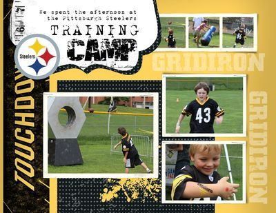 scrapbook page, layout for Colvin's Lions Camp this summer.