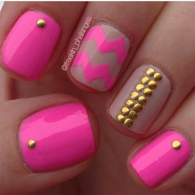 Hot Pink Neon Nails + Gold Studded