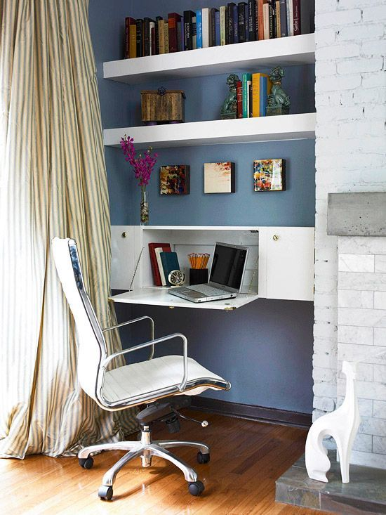 Turn storage upside down with an inventive way to use kitchen cabinets. Hang a cabinet horizontally and attach piano hinges to the doors so it can open to become a mini desk area. When not in use, the door can simply be closed to conceal the work area and maintain a sleek appearance! http://www.bhg.com/rooms/home-office/storage/home-office-storage/?socsrc=bhgpin042415hiddenoffice&page=17