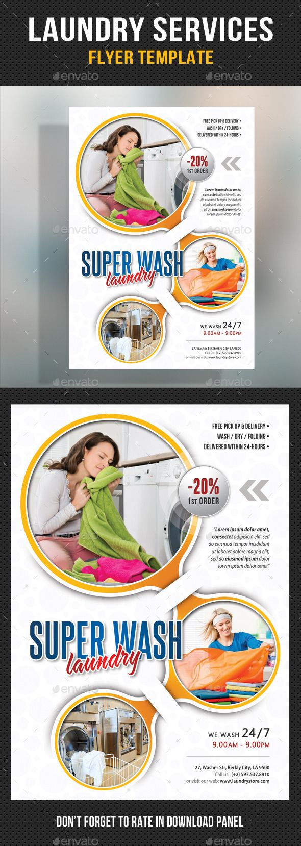 34 best laundry flyer images on pinterest creative letters and laundry services flyer template v02 corporate flyers pronofoot35fo Image collections