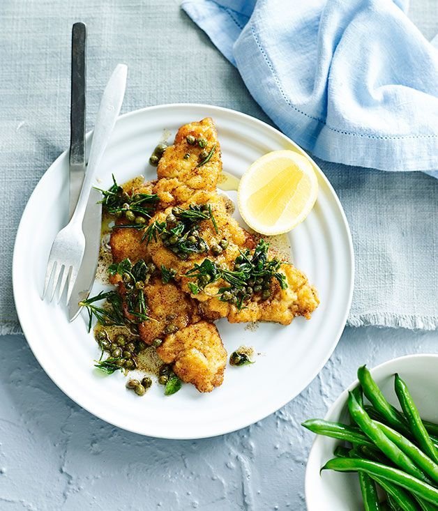 Australian Gourmet Traveller fast recipe for veal schnitzels with burnt caper butter.