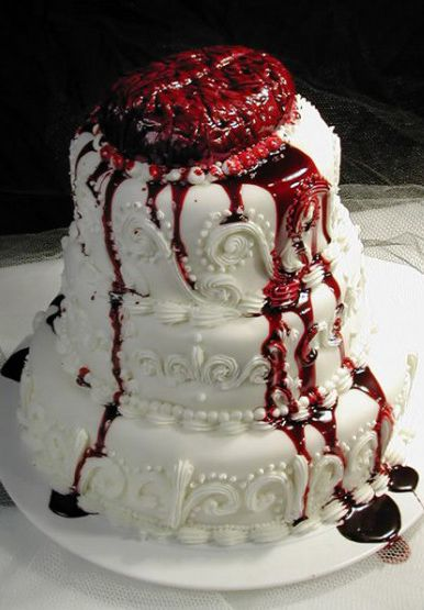 not getting married again, but this is awesome!!  Zombie Wedding Cake #horror #blood #gore #brain