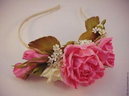 Диадемы, обручи ручной работы. Ярмарка Мастеров - ручная работа. Купить Ободок с цветами из фоамирана. Handmade. Розовый, венок из цветов