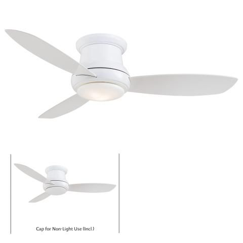 """Concept™ II - 44"""" Flush Mount Ceiling Fan - 44"""" 3 Concave Blades in White Finish w/White Blades Integrated Halogen Lights"""