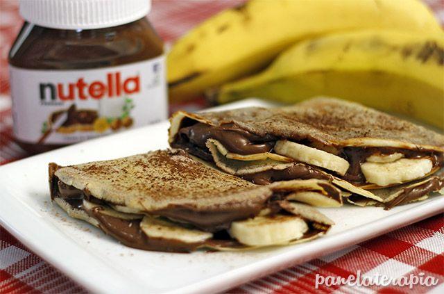PANELATERAPIA - Blog de Culinária, Gastronomia e Receitas: Crepe de Nutella com Banana