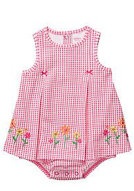 Floral gingham sun suit...would be nice to embroider this