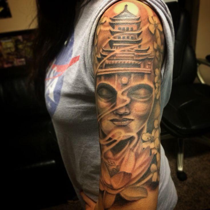 Buddha sleeve by Oscar Moreno Tattoos Spooksink