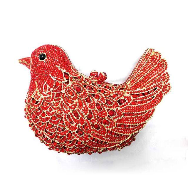 Artesanía de lujo de Diamantes de Cristal Bolso de Noche Rhinestone Animal del Pájaro de Noche Bolsa de Embrague para el Partido de la Señora Bling Monedero de La Boda