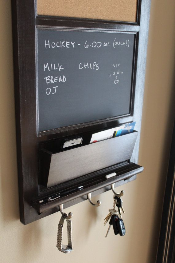 Vertical Wall Tall Chalkboard Cork Bulletin Board with Mail