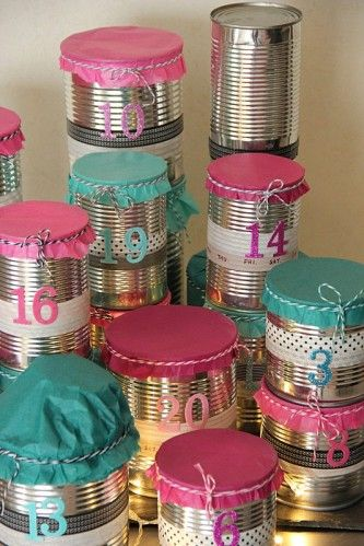Adventcalendar with tin cans and washi tape