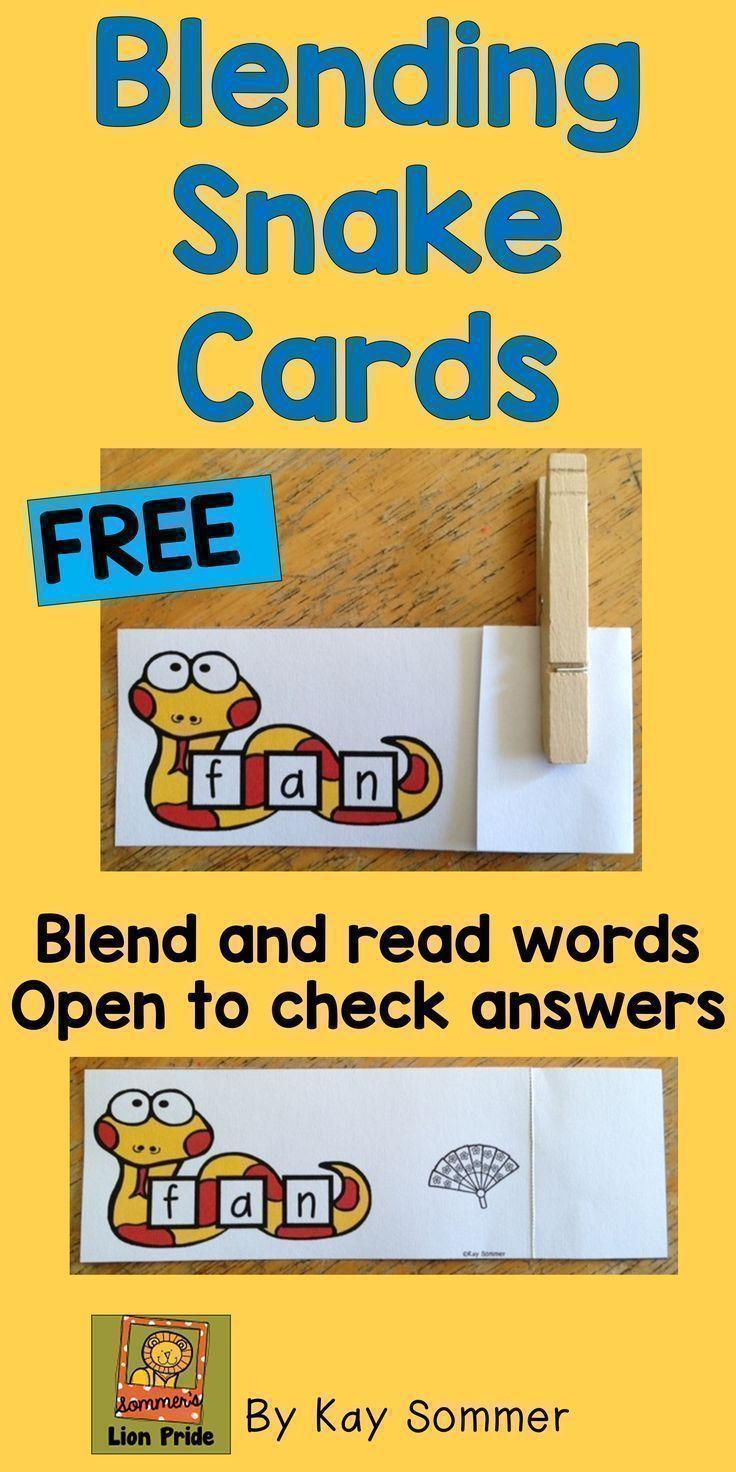 Blending Snake Cards {FREE} | TpT FREE LESSONS | Pinterest