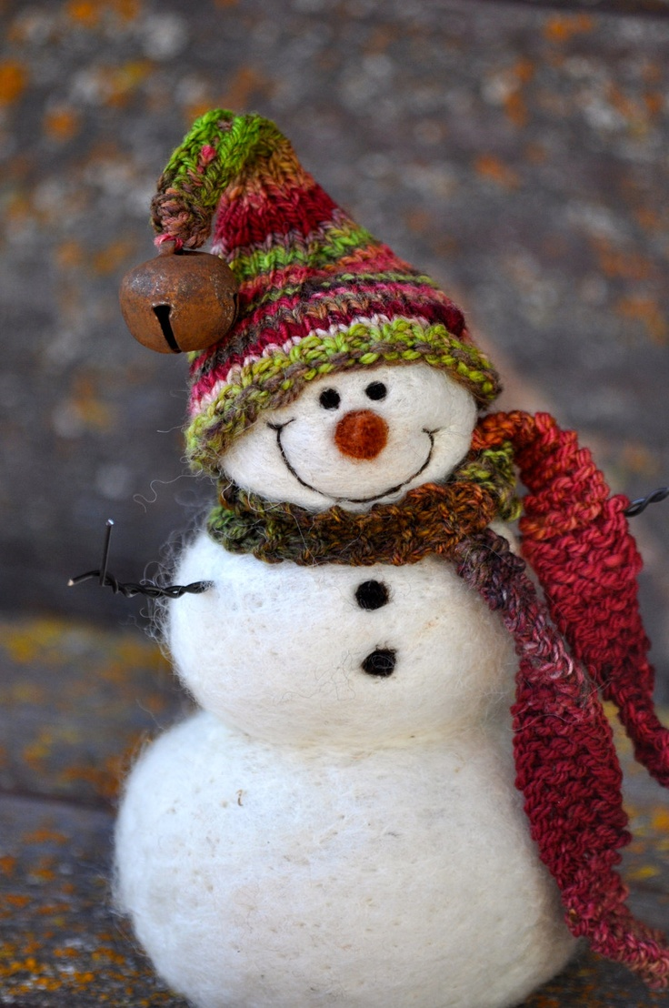 SNOWMAN Cloth snowman with knitted hat and scarf.