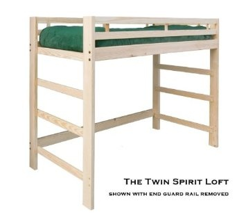 Amazon.com: Twin Junior (short height) Spirit Loft Bed - Natural Unfinished - Solid Wood - Holds 1000 Lbs.: Furniture & Decor