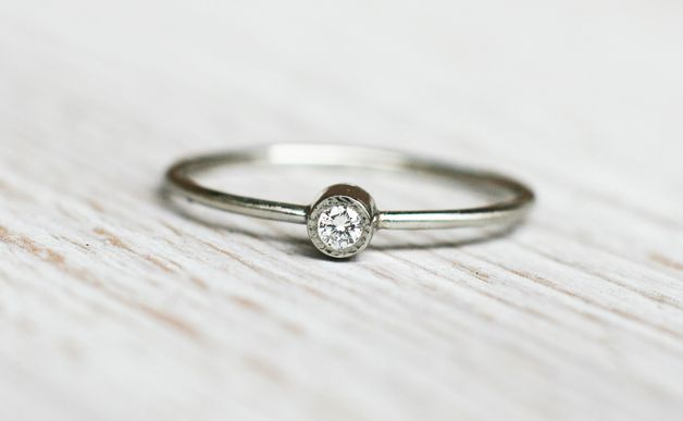 Engagement Rings – Forever Platinum solitaire engagement ring – a unique product by arpelc on DaWanda