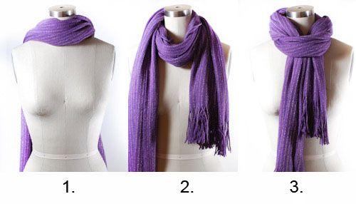 Схема, как красиво завязать шарф венком
