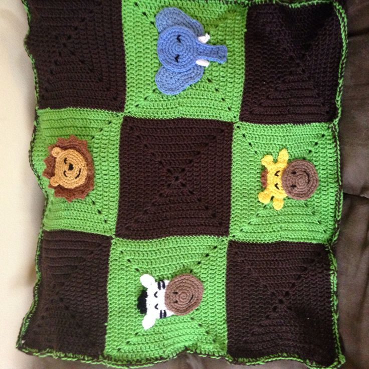 Crochet jungle animal baby blanket (with lion, zebra ...