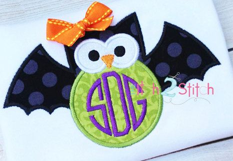 Owl Bat (Font NOT Included) Applique Design For Machine Embroidery  INSTANT DOWNLOAD now available