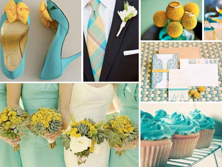 {aqua and yellow} teal, aqua and yellow wedding