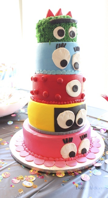 Yo Gabba Gabba birthday party.... custom pinata with all characters stacked!!! (just another gabba idea)