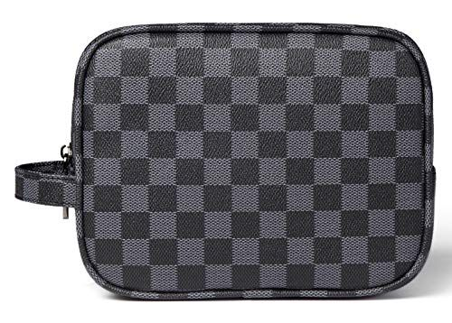 Daisy Rose Luxury Checkered Make Up Bag | PU Vegan Leather Cosmetic toiletry Tra…