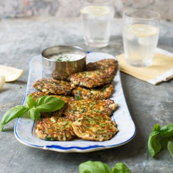 Courgette, Haloumi and Basil Fritters