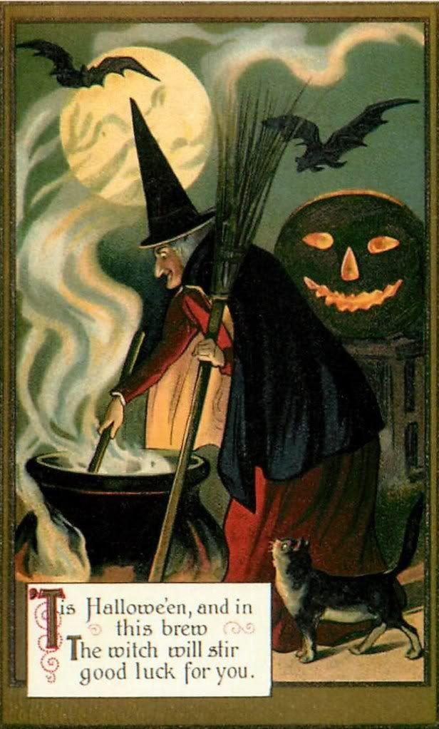 Fabric Block Halloween Vintage Image Witch Postcard on Fabric