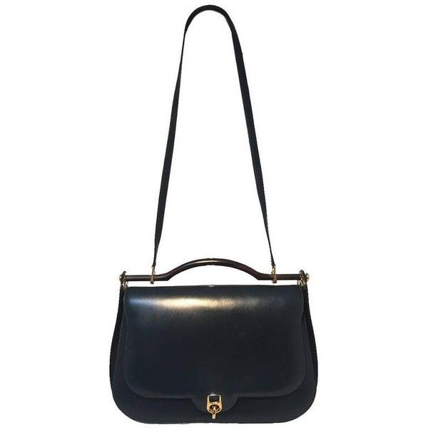 Preowned Hermes Vintage Navy Blue Leather Top Handle Shoulder Bag ($3,800) ❤ liked on Polyvore featuring bags, handbags, shoulder bags, blue, hermes purse, navy shoulder bag, blue handbags, hermes handbags and navy blue purse