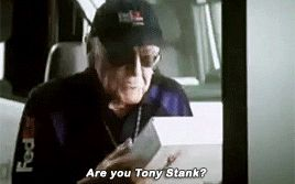 """""""Are you Tony Stank?"""" Stan Lee cameo< best stan lee cameo ever. Rhodey just Bout lost it"""