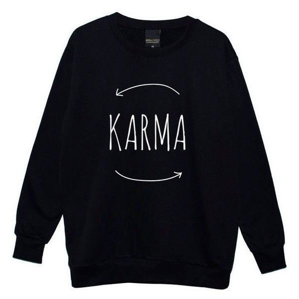 Karma Boyfriend Oversized Sweater Jumper Womens Ladies Fun Tumblr Hips ❤ liked on Polyvore featuring tops, sweaters, oversized sweaters, jumpers sweaters, oversized boyfriend sweater, oversized jumper and boyfriend tops