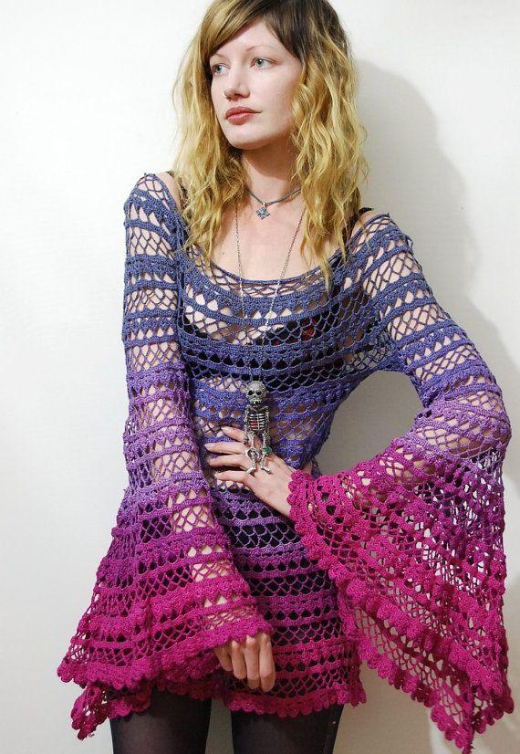 CROCHET Dress Lace RAINBOW OMBRE Vintage Cotton by cruxandcrow