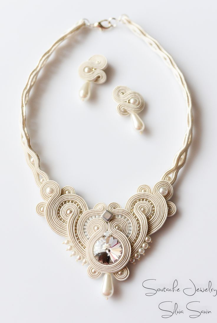 Bridal soutache set - necklace and earrings with Swarovski rivoli, glass pearls, Toho
