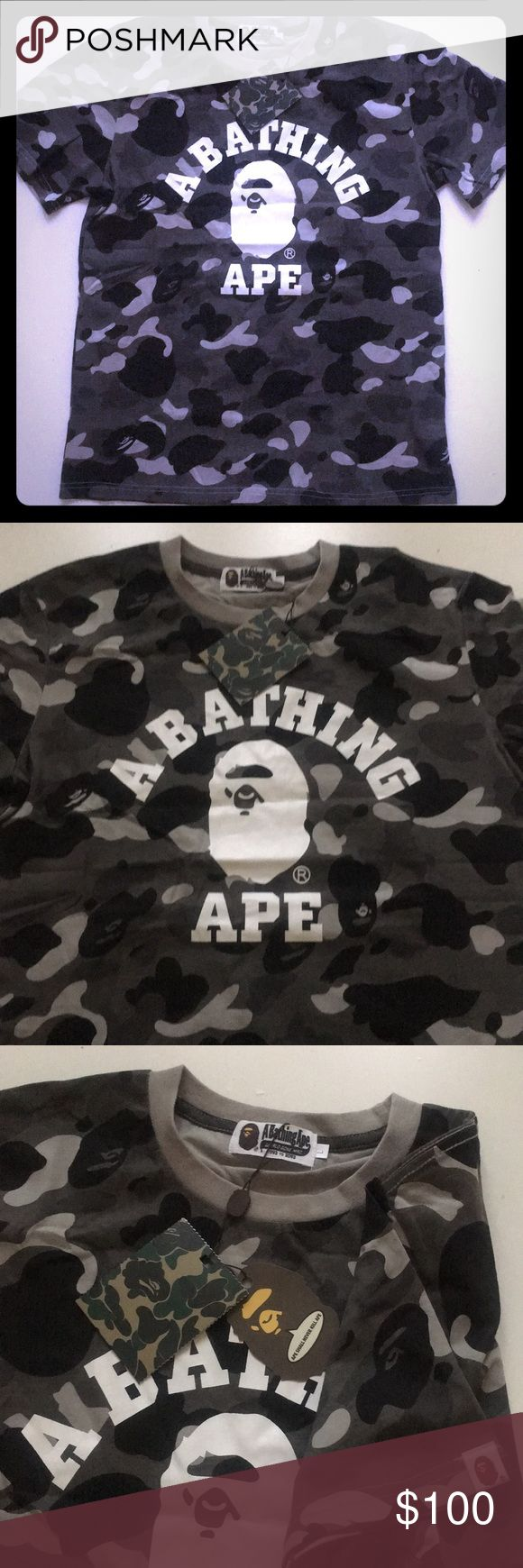 Bape Shirt Black/Gray Camo Print NWT L Brand new, authentic with original packaging and unisex. Size large but fits like a medium. Let me know if you need measurements. Bape Shirts Tees - Short Sleeve