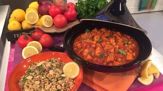 Sweet potato tagine with cauliflower couscous