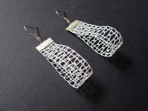 Ajour Small 3D Drop Lace Earrings hHandmade Bobbin by A5lace