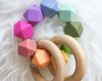 Wooden Teething Toy Baby Gift Wooden Teether Waldorf Toy Montessori Baby Toy Sensory Teether
