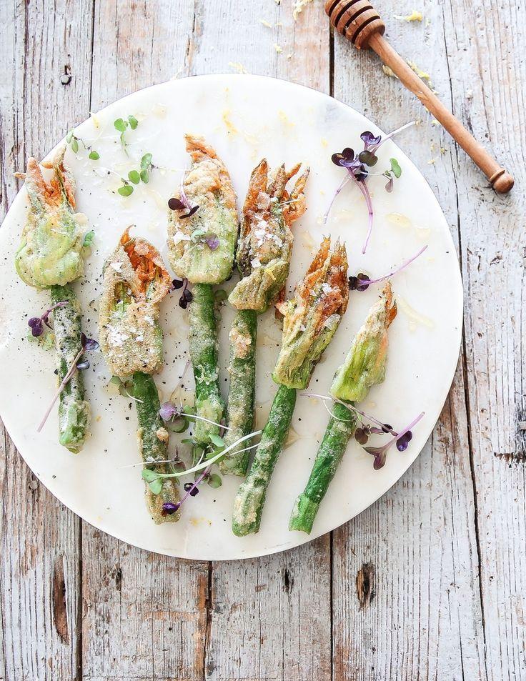 ... tempura zucchini flowers with honey & lemon infused cashew cheese (paleo/vegan) ...