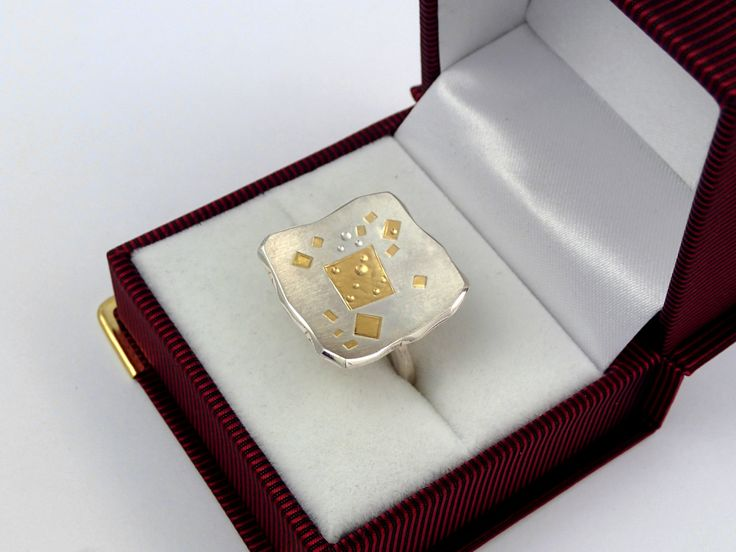 An unconventional ring that consists of gold fused on silver. by TomisCraft on Etsy
