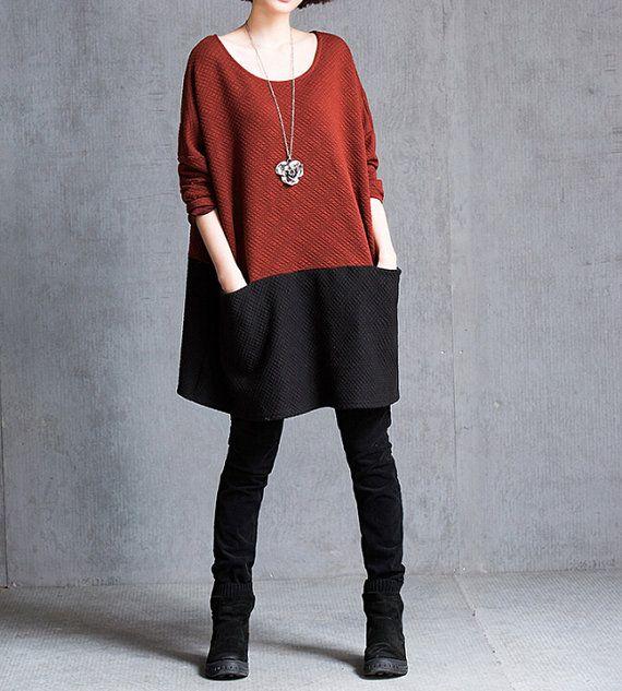 Fashion cotton stitching dress/ wine red dress/ blue by MaLieb