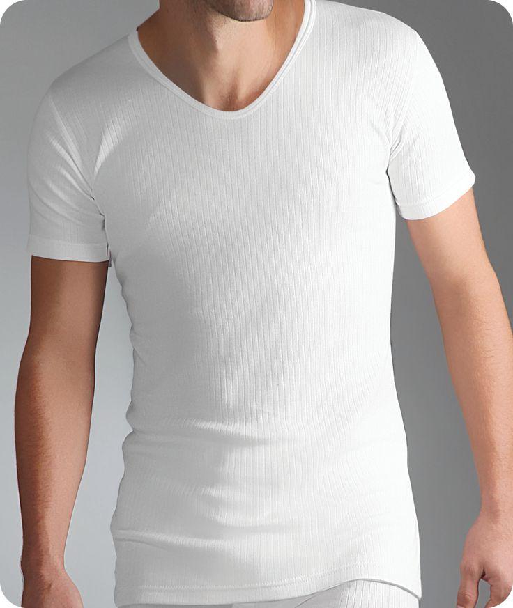 Mens Thermal Short Sleeved Vest V-Neck