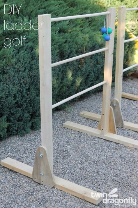 Best DIY Backyard Games - DIY Ladder Golf Game - Cool DIY Yard Game Ideas for Adults, Teens and Kids - Easy Tutorials for Cornhole, Washers, Jenga, Tic Tac Toe and Horseshoes - Cool Projects for Outdoor Parties and Summer Family Fun Outside http://diyjoy.com/diy-backyard-games