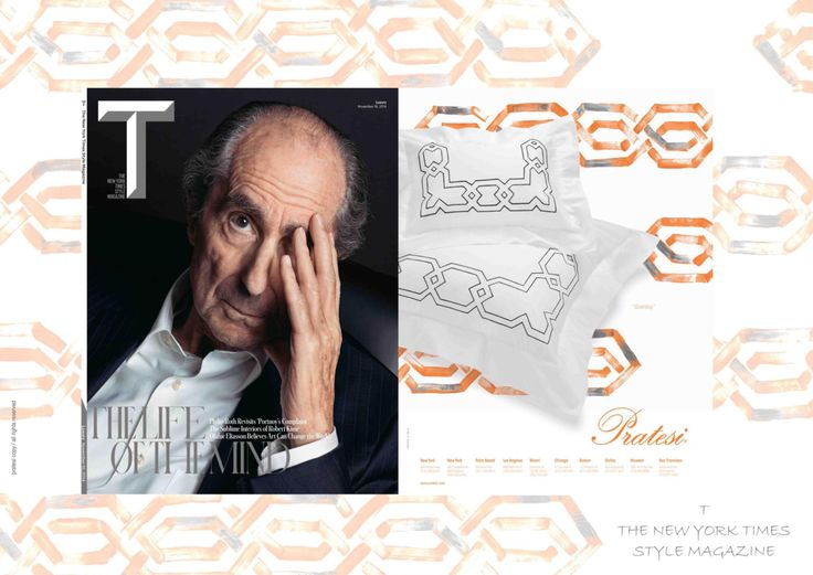 """T Magazine - November 2014   """"Gatsby"""" Embroidery   #NewYorkTimes #Magazine #Collection #Interior #Design #Print#Architecture #Bed #Pillows #Linens #Home #Decor #Luxury"""
