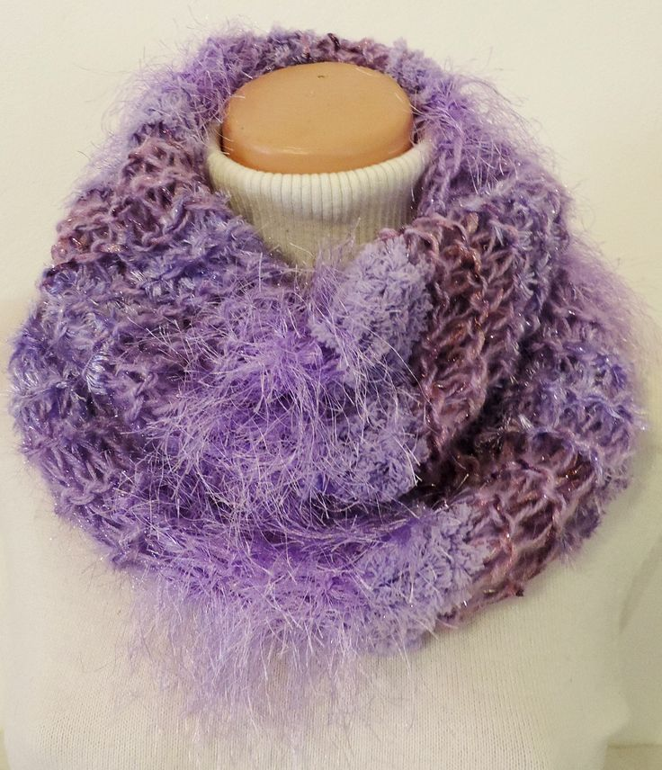 """Cowl, which you can wear around your neck. Thick and warm, many colors :-) Measurement: Scarflette length is ~ 23""""x20"""" (~ 60x52 cm.) Composition: - 10 % Wool, 20 % Acrylic, 35 % Micro Polyamide + 35 % Polyester - lila. Handmade with ♥ $11.72 USD"""