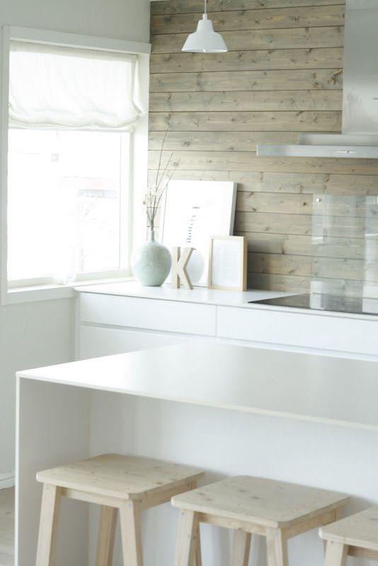 Driftwood timber splashback feature and white, always beautiful