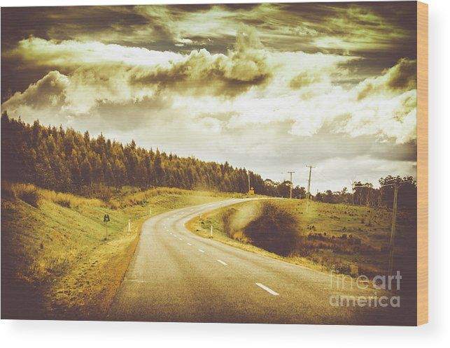 Road Wood Print featuring the photograph Window To A Rural Road by Jorgo Photography - Wall Art Gallery