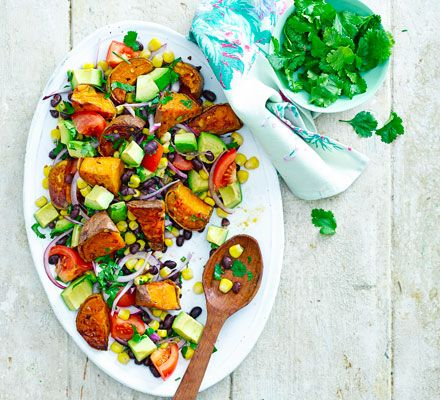 This hearty vegan salad is 4 of your 5-a-day, rich in folate, fibre and vitamin C, plus it has lots of interesting flavours and textures