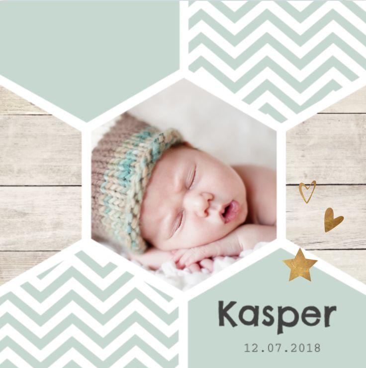 lovz | klassiek foto geboortekaartje voor een jongen  met hippie honingraat, koper kleurige elementjes en chevron patroon.