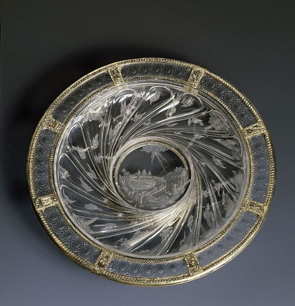 Giovanni Desiderio Bernardi                                                Carved rock crystal and gilded silver                                                Central design of the Noah's Ark                                                Half 16th century